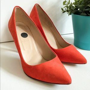 J Crew Orange Suede/Genuine Leather Heels